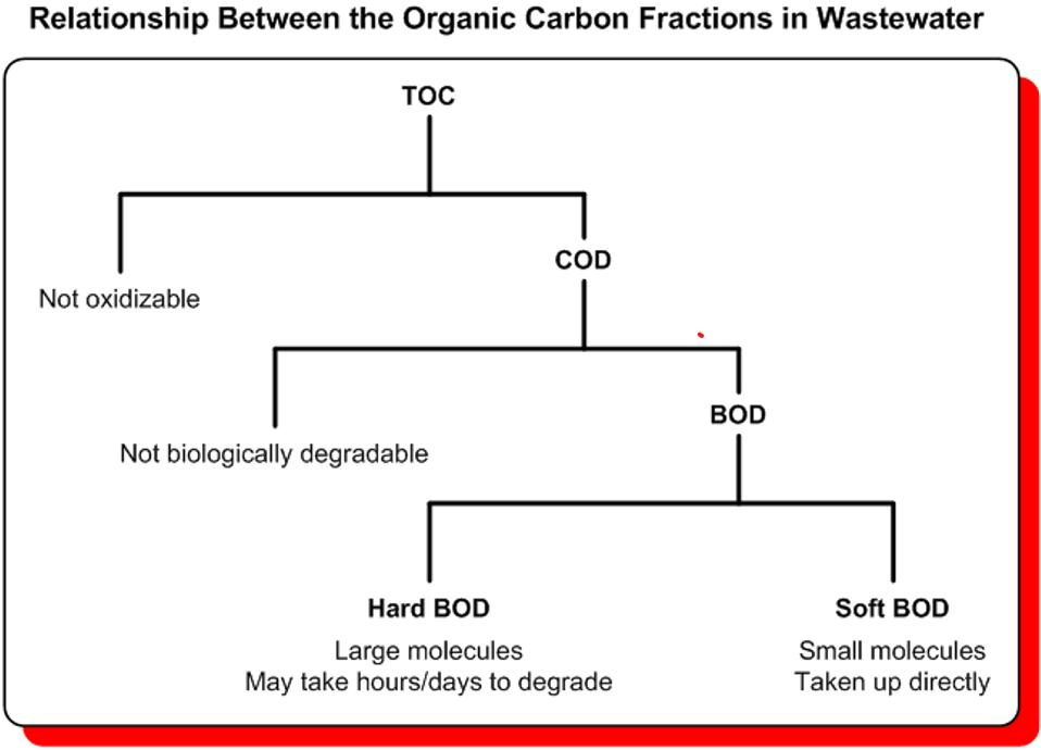 relazione tra le frazioni di carico organico nelle acque reflue
